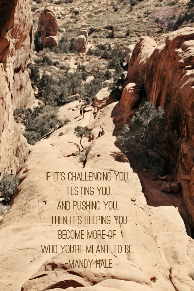 If it's challenging you, testing you, and pushing you... then it's helping you become more of who you're meant to be. -Mandy Hale