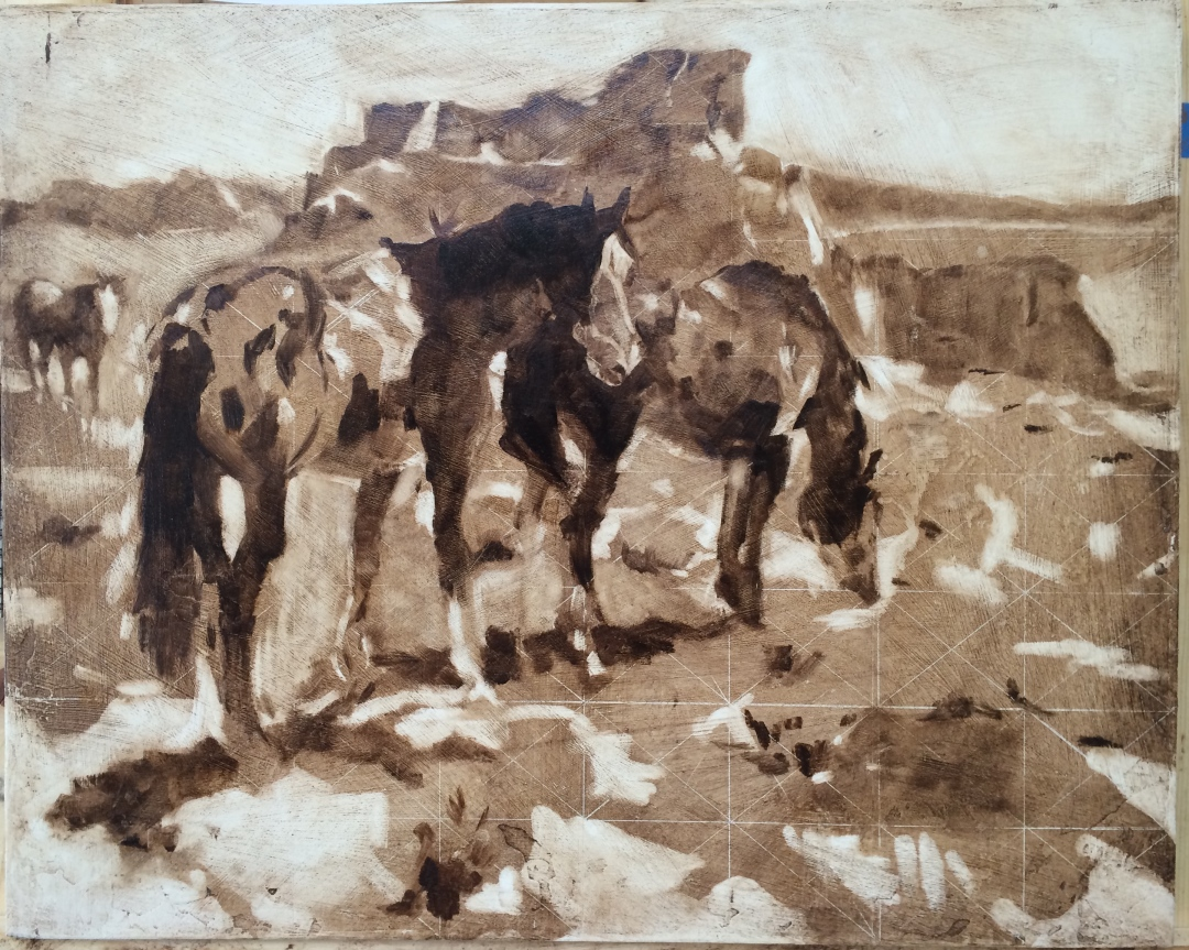 imitation of James Reynolds Navajo Ponies oil rubout