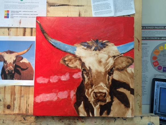 underpainting of longhorn steer