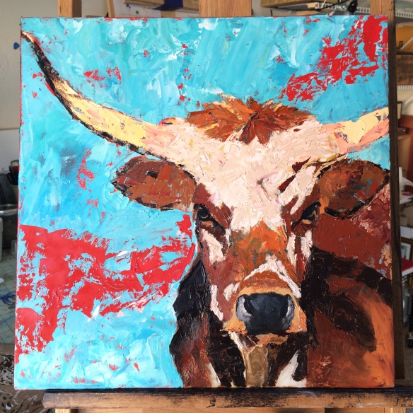 palette knife painting of Longhorn